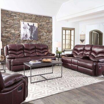 Denali Top Grain Leather Reclining Sofa and Loveseat