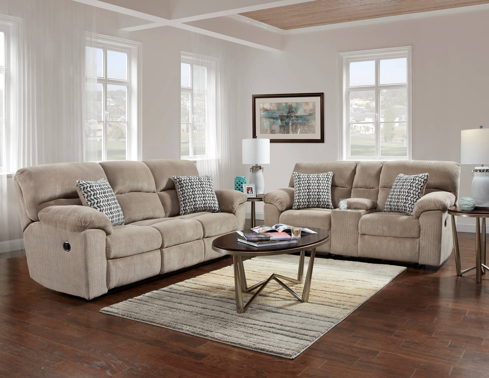 Chevron Seal Reclining Sofa and Loveseat Set