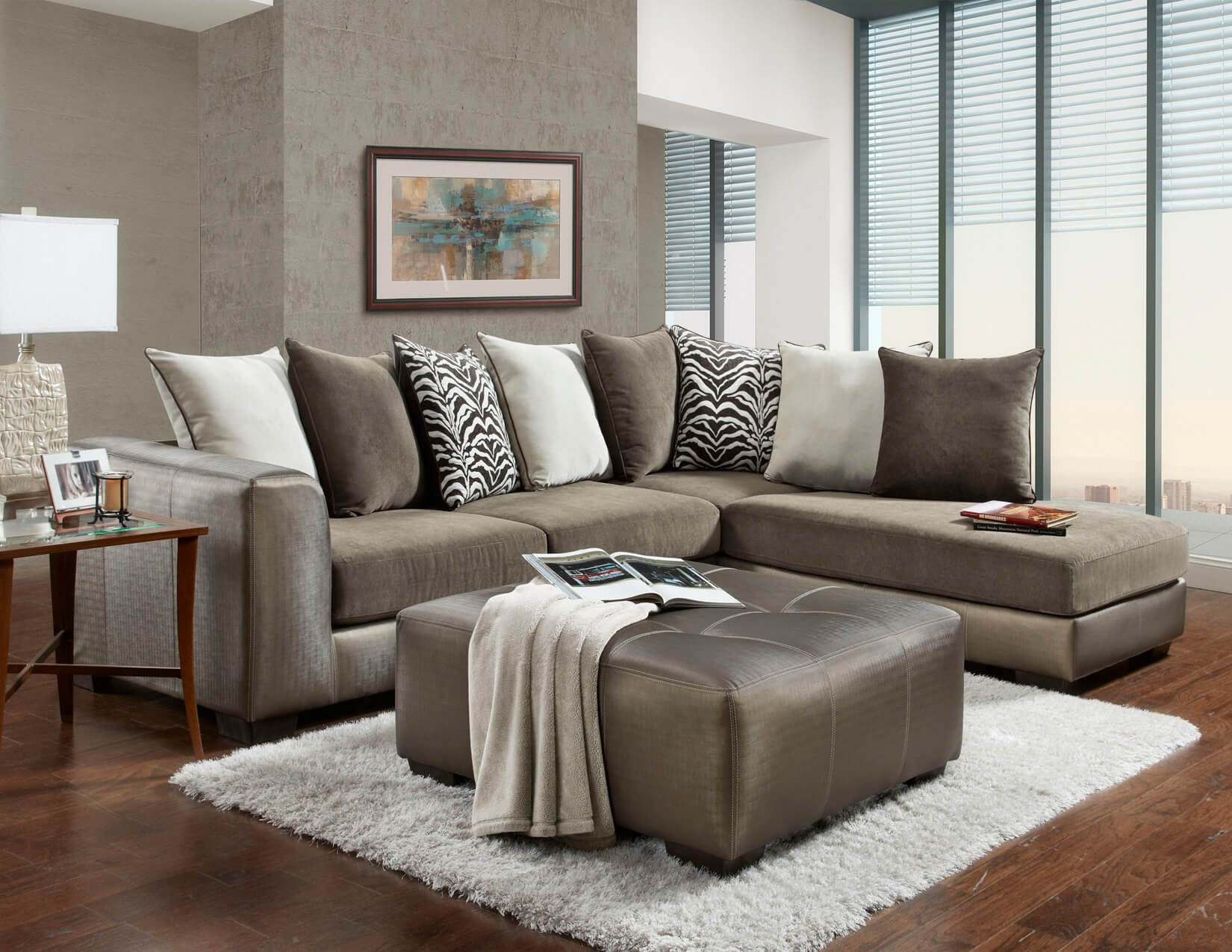 Shimmer Magnetite Sectional By Affordable Furniture