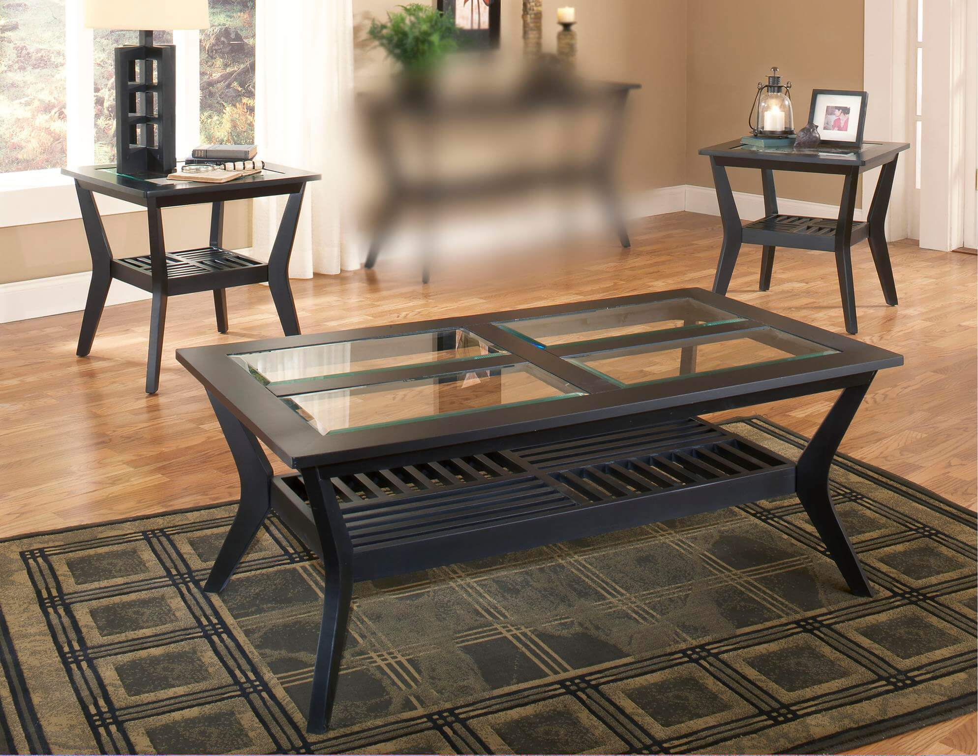 Caliente Black Coffee And End Table Set Occasional Tables