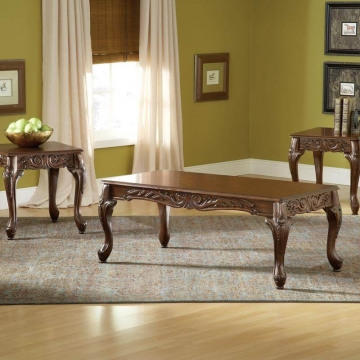 Carved Cherry Coffee and End Table Set