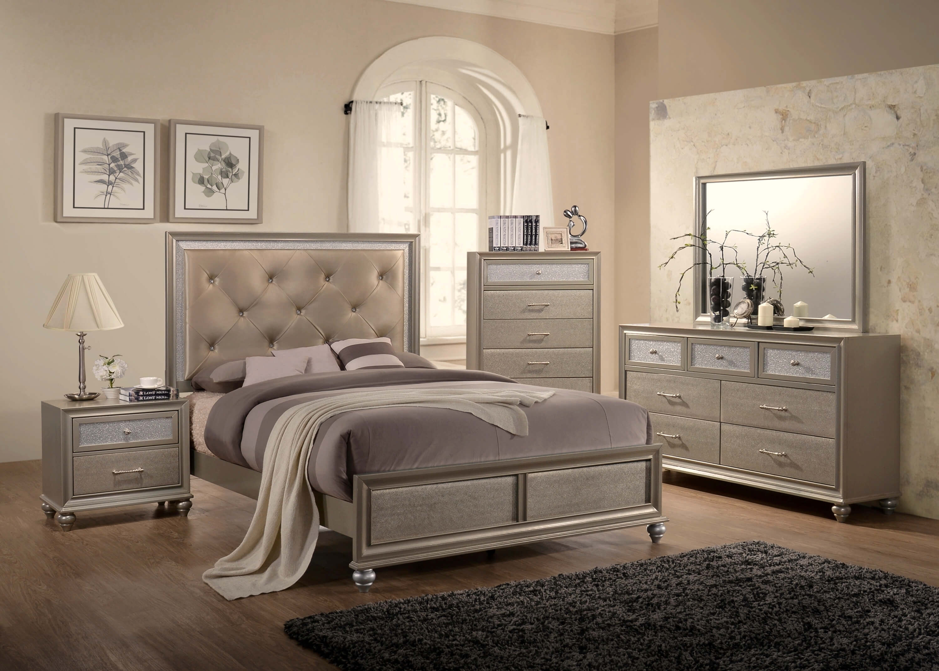 lila champagne bedroom set by crown mark. Black Bedroom Furniture Sets. Home Design Ideas