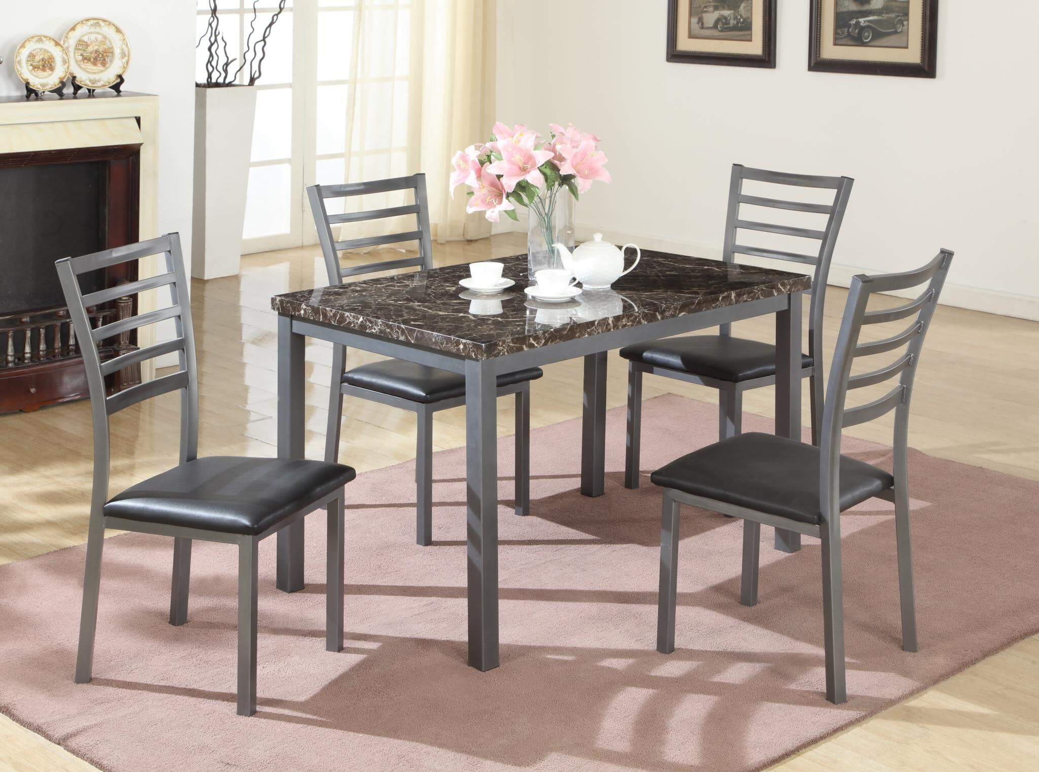 Mark Black Metal 5 Piece Dining Set