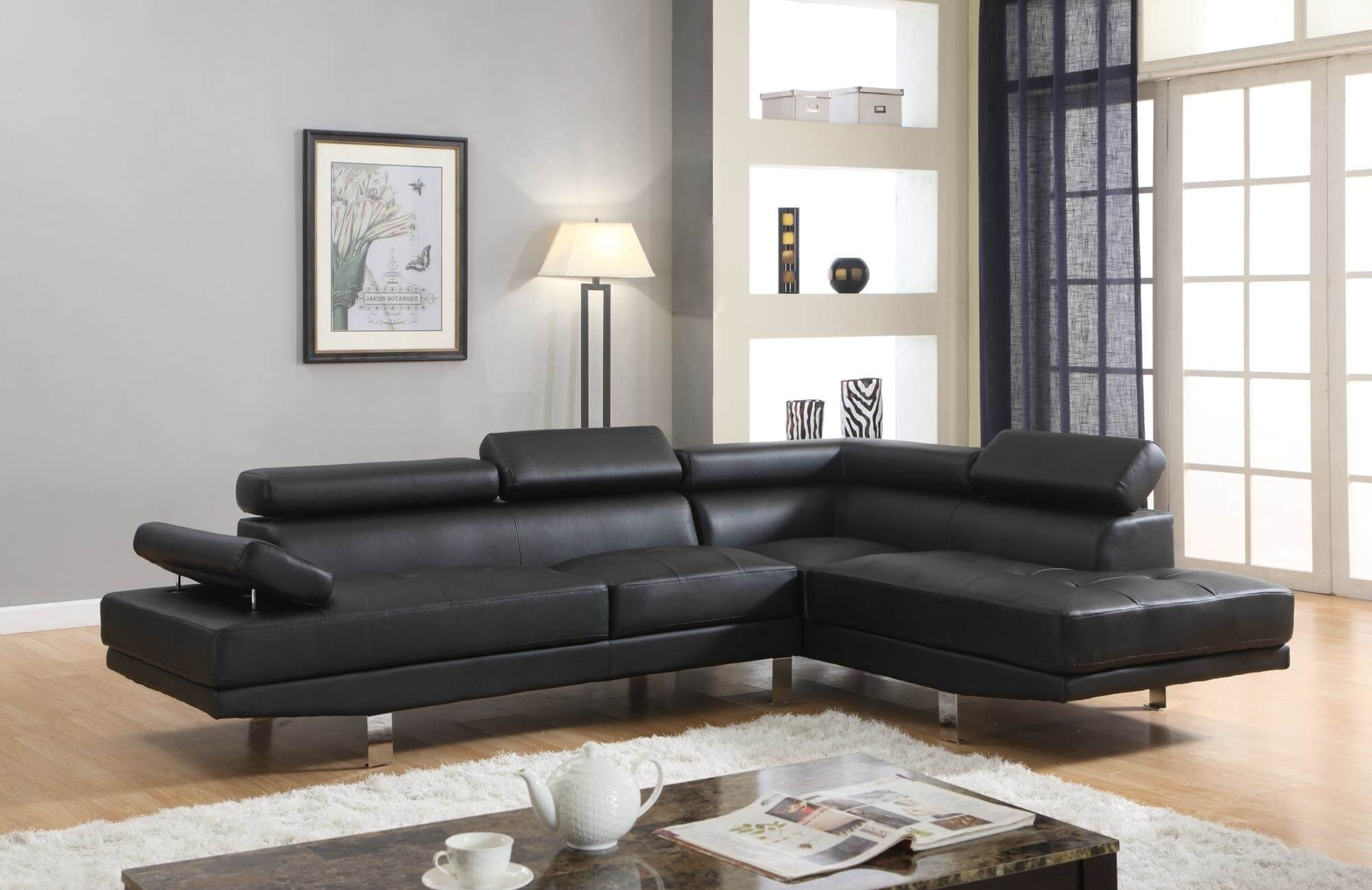 Black Modern Sectional By Global Trading Sectional Sofa Sets