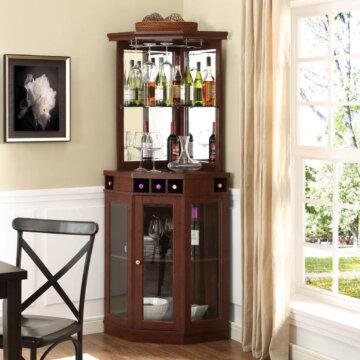 Cherry Corner Bar Cabinet