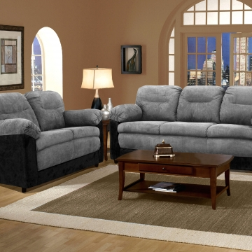 Bulldozer Graphite/Black Sofa and Loveseat