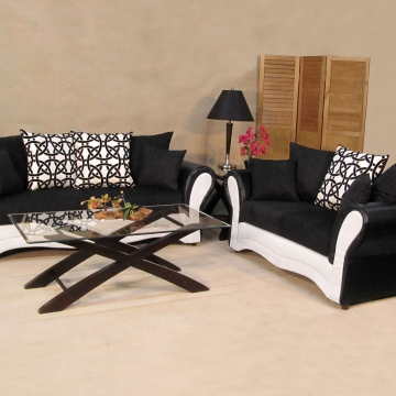 Black and White Ice Sofa and Loveseat