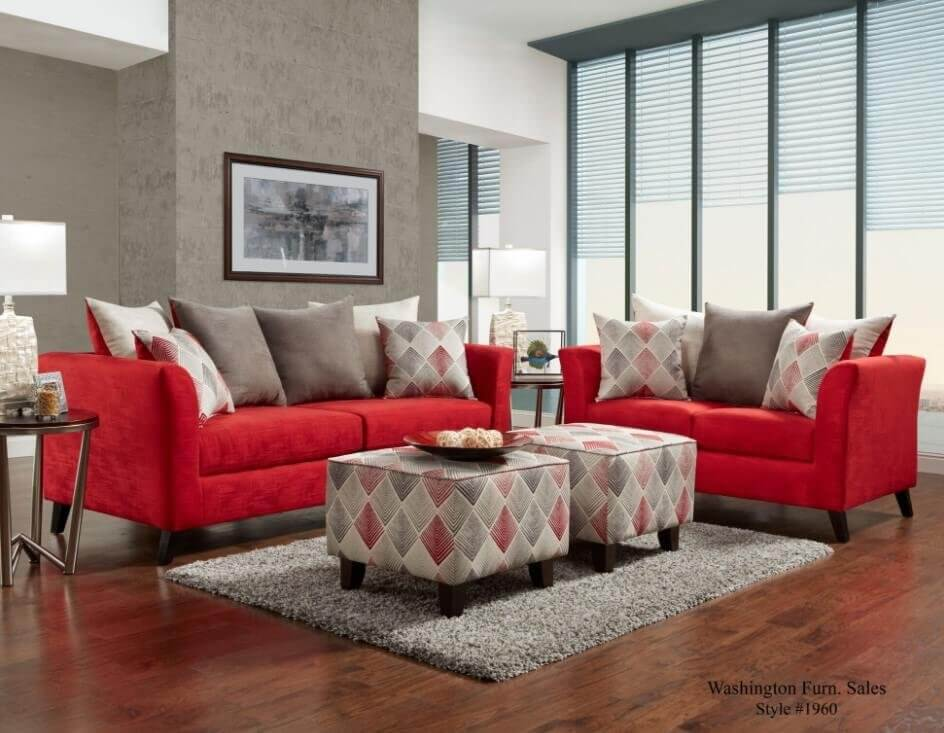 Stix Red Sofa And Loveseat Fabric Living Room