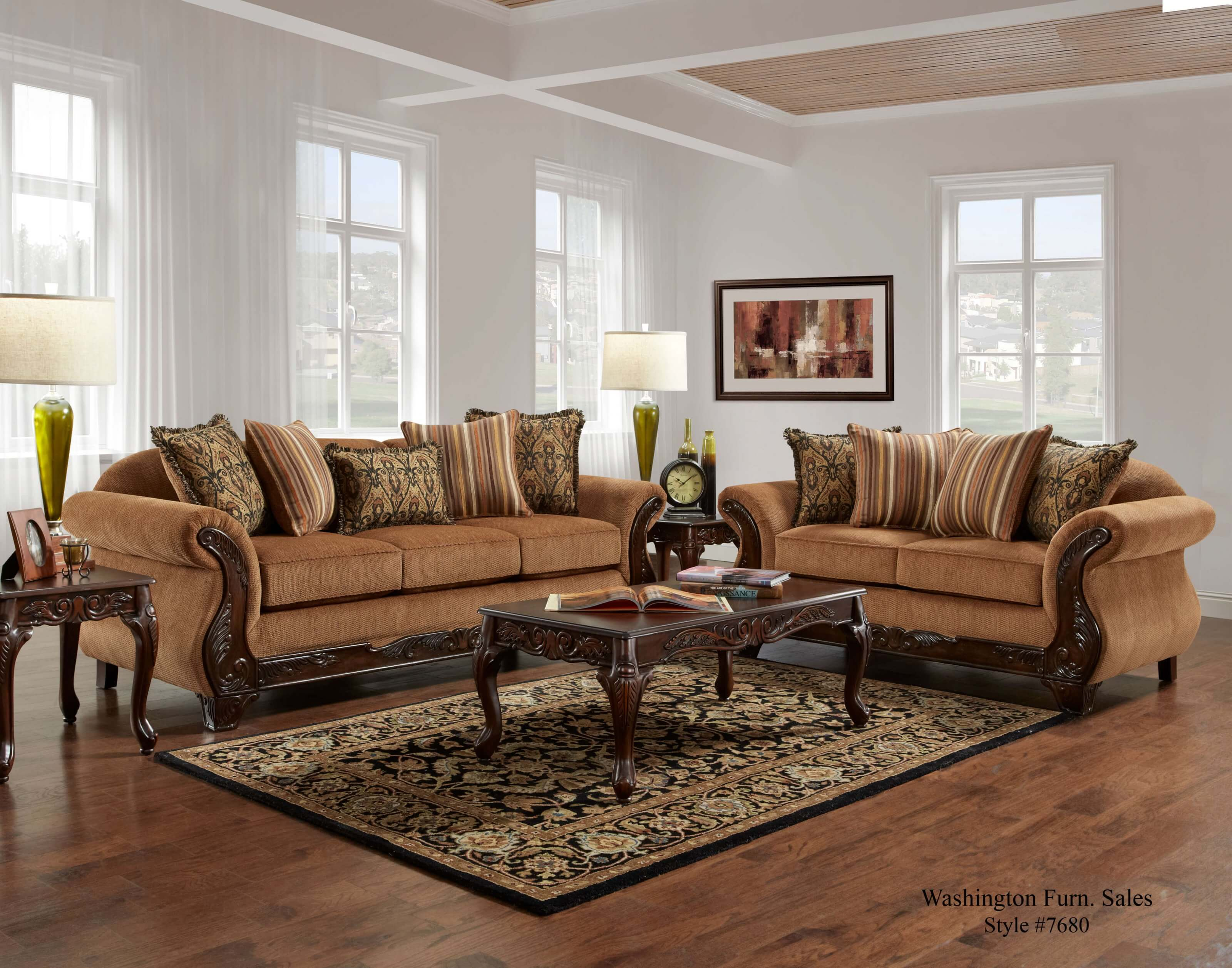living room furniture com florence gold sofa and loveseat fabric living room 11690