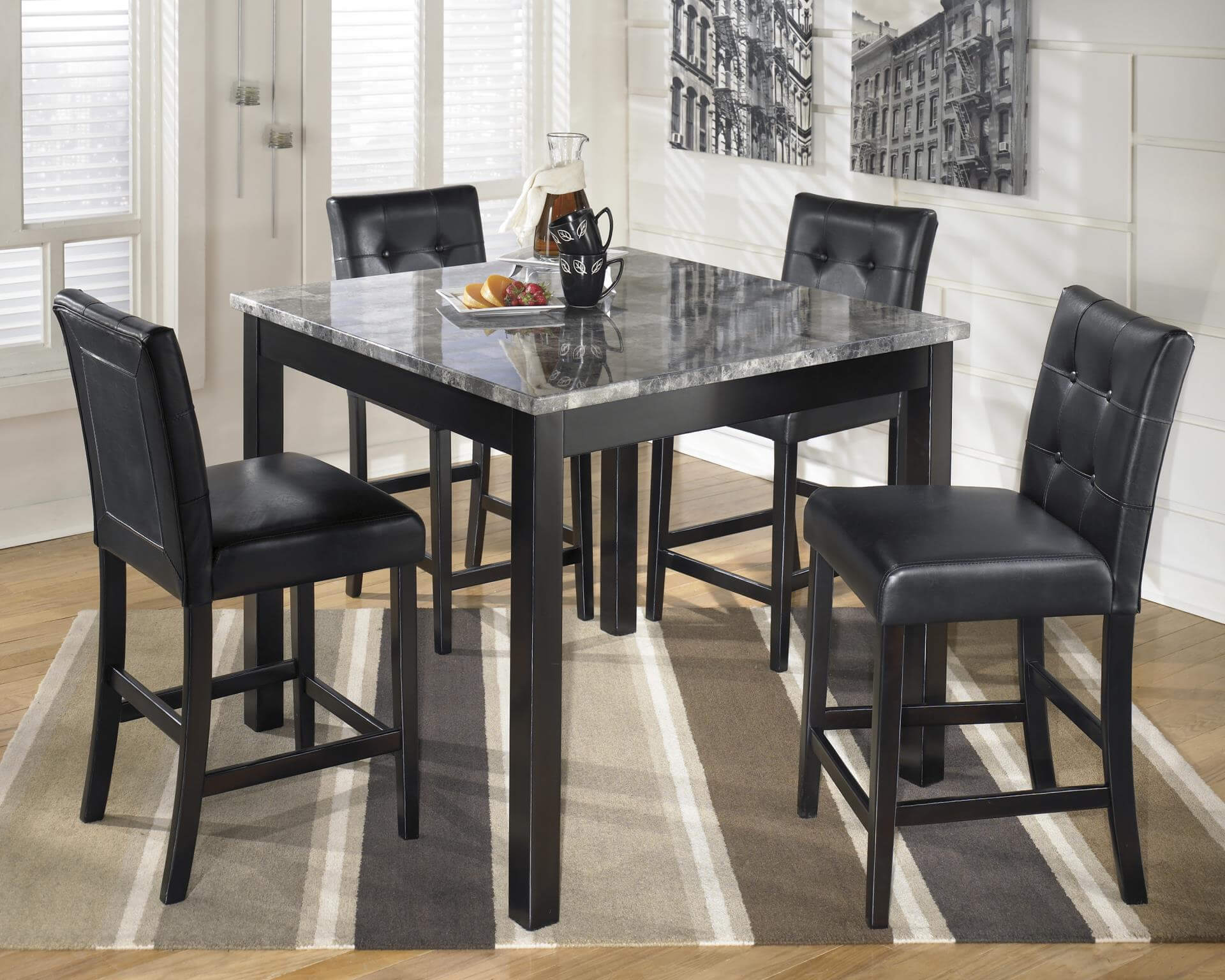 5 Pc Tasha Black Faux Counter Height Set Dining Room Set