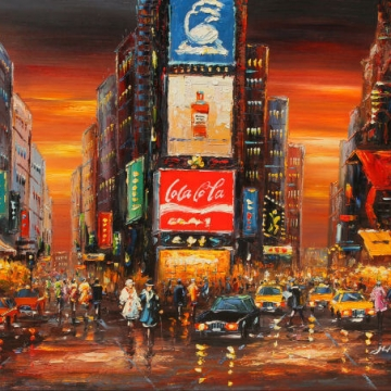 Time Square Color Framed Art