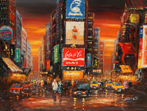Time Square Color Framed Art