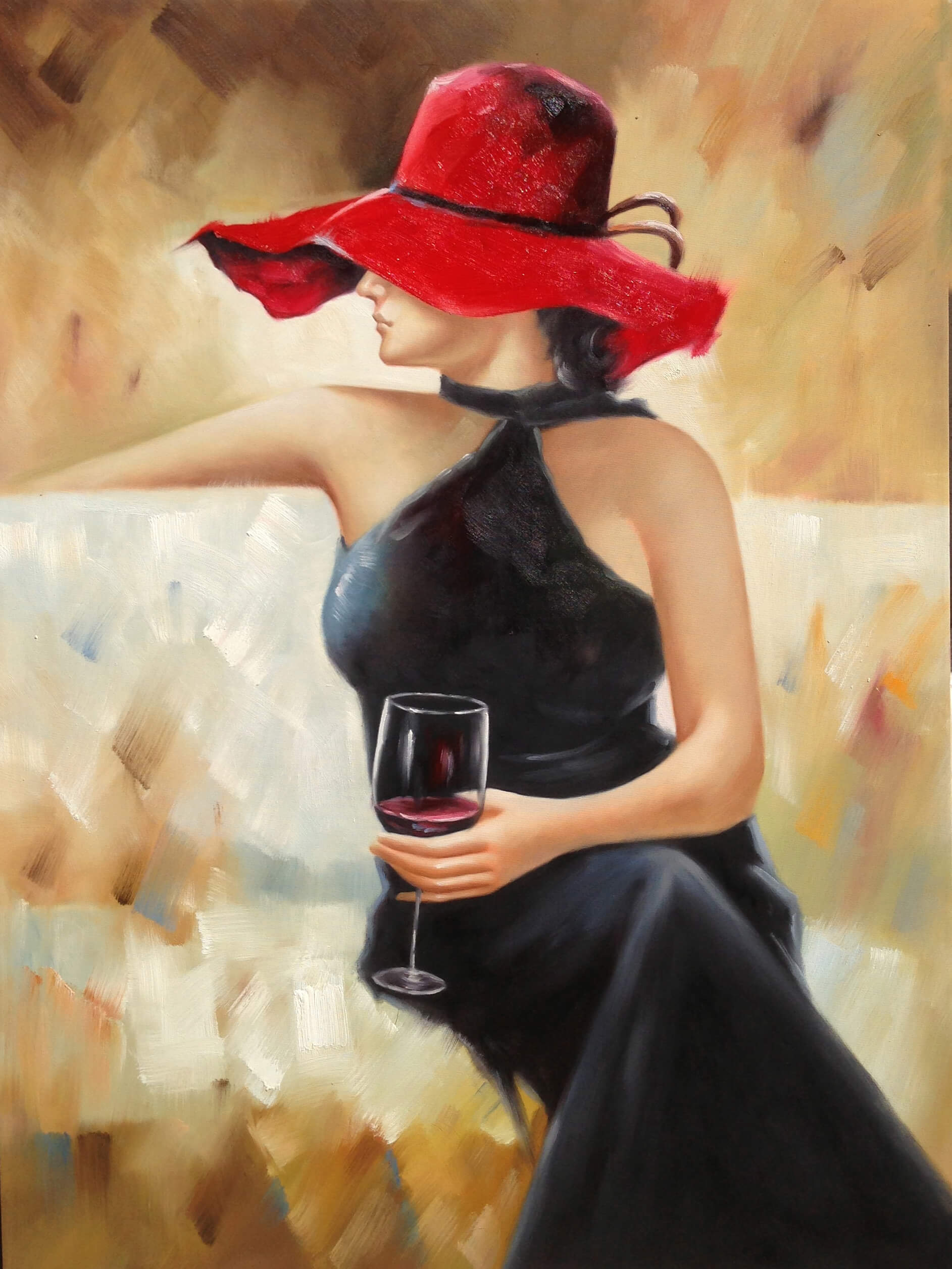 Lady With Wine Glass Framed Wall Art Urban Furniture Outlet