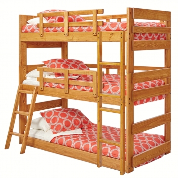 Woodcrest Solid Pine Triple Twin Bunk Bed