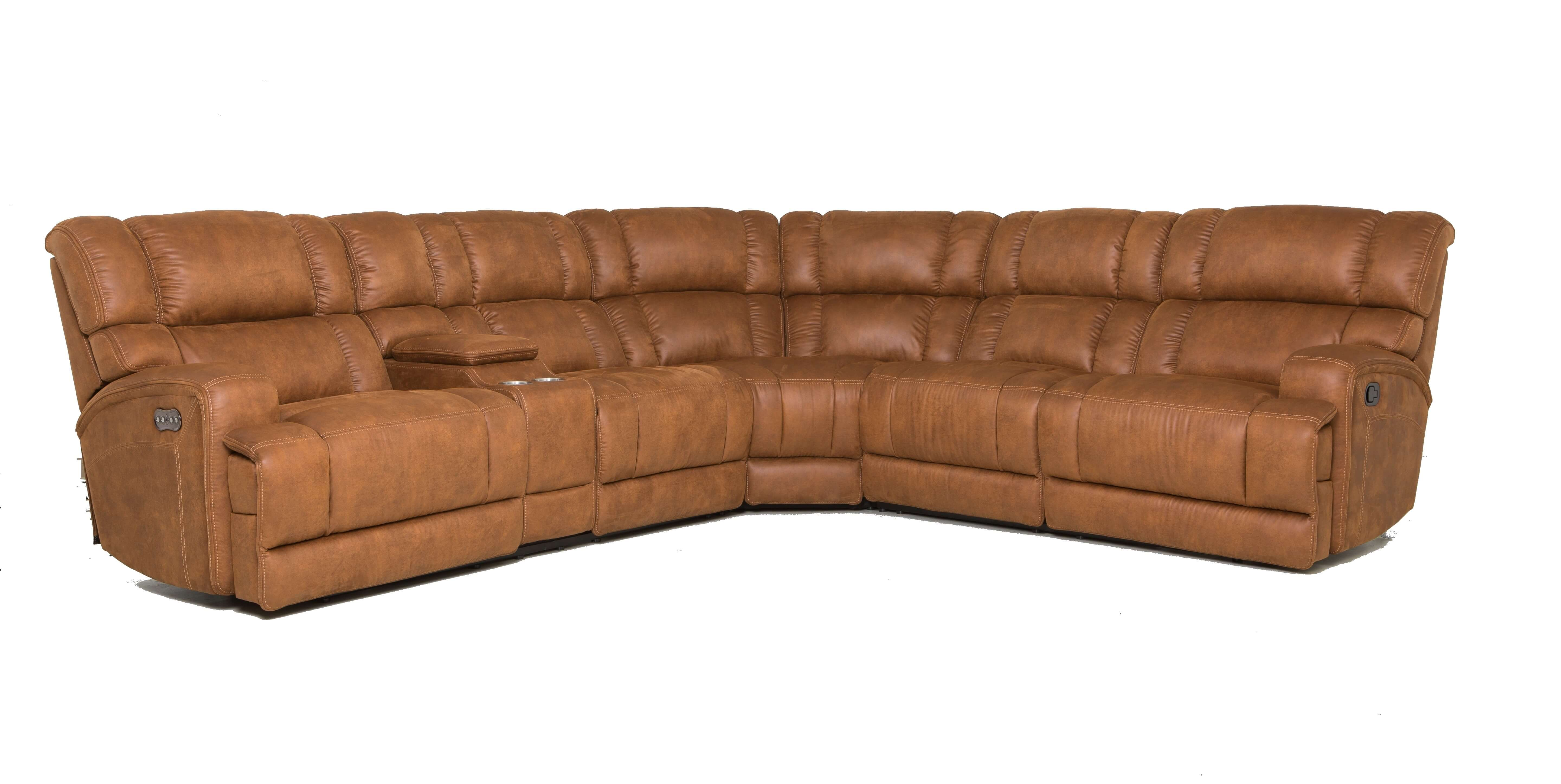 Brady Brown Power Sectional with Adjustable Headrest