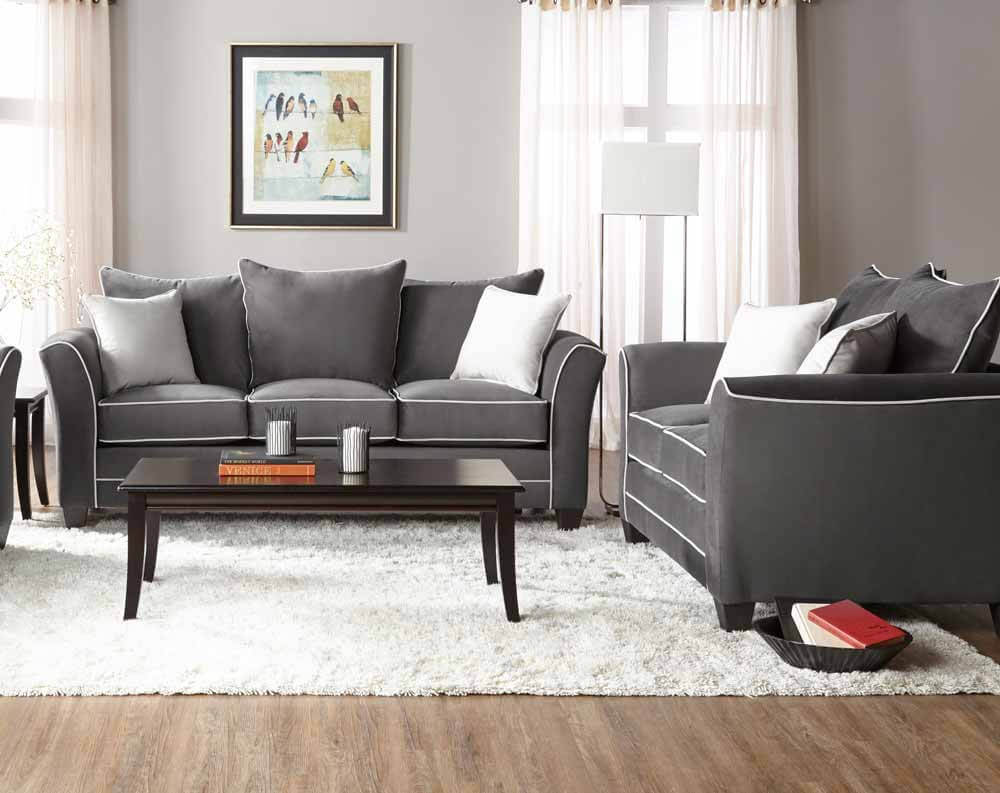 Bing Ash Sofa And Loveseat Set Fabric Living Room Sets