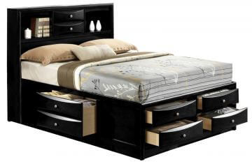 Fabulous B4285 King Emily Black Storage Bed By Crown Mark Home Interior And Landscaping Oversignezvosmurscom