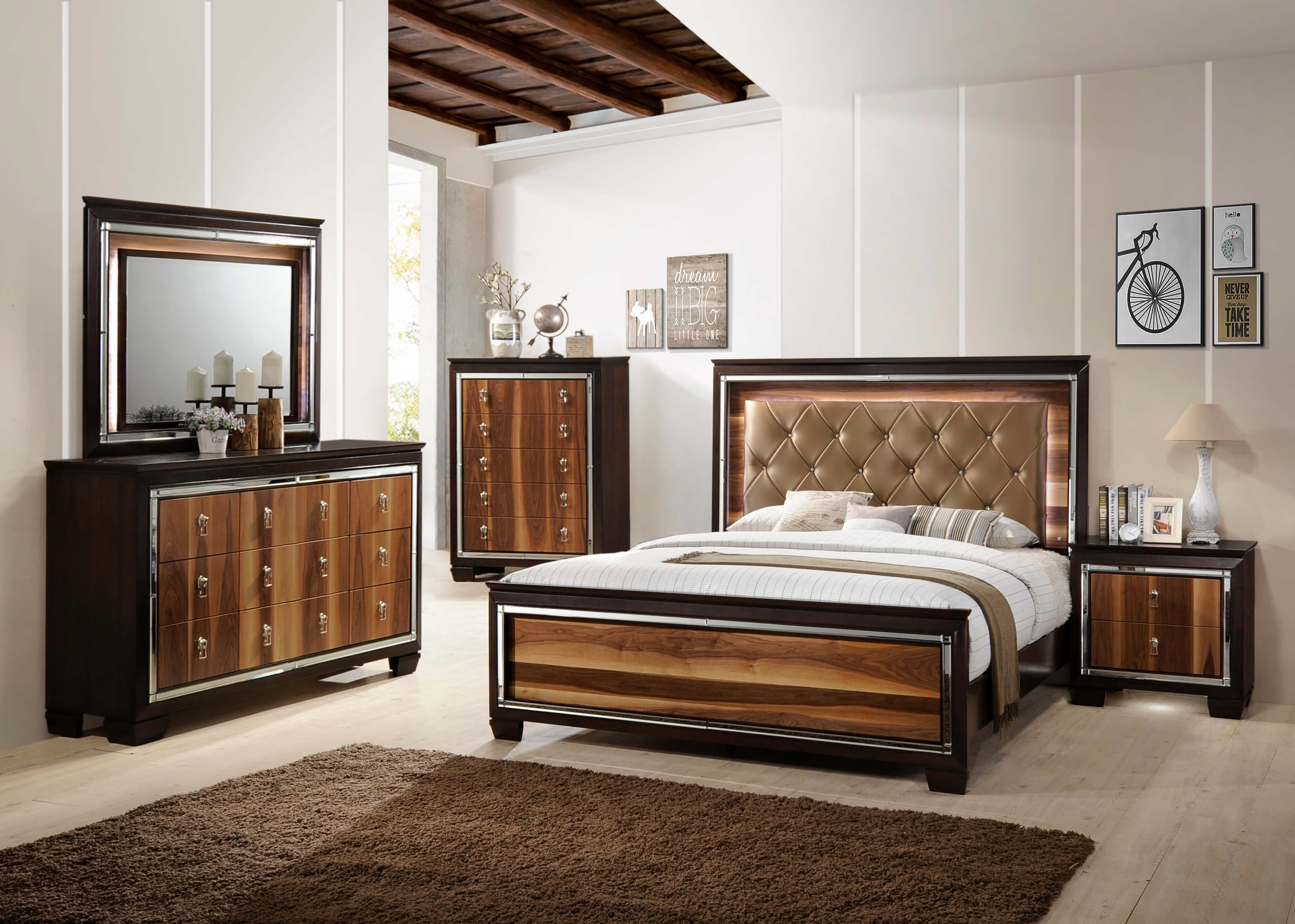 kelda led bedroom set by crown mark