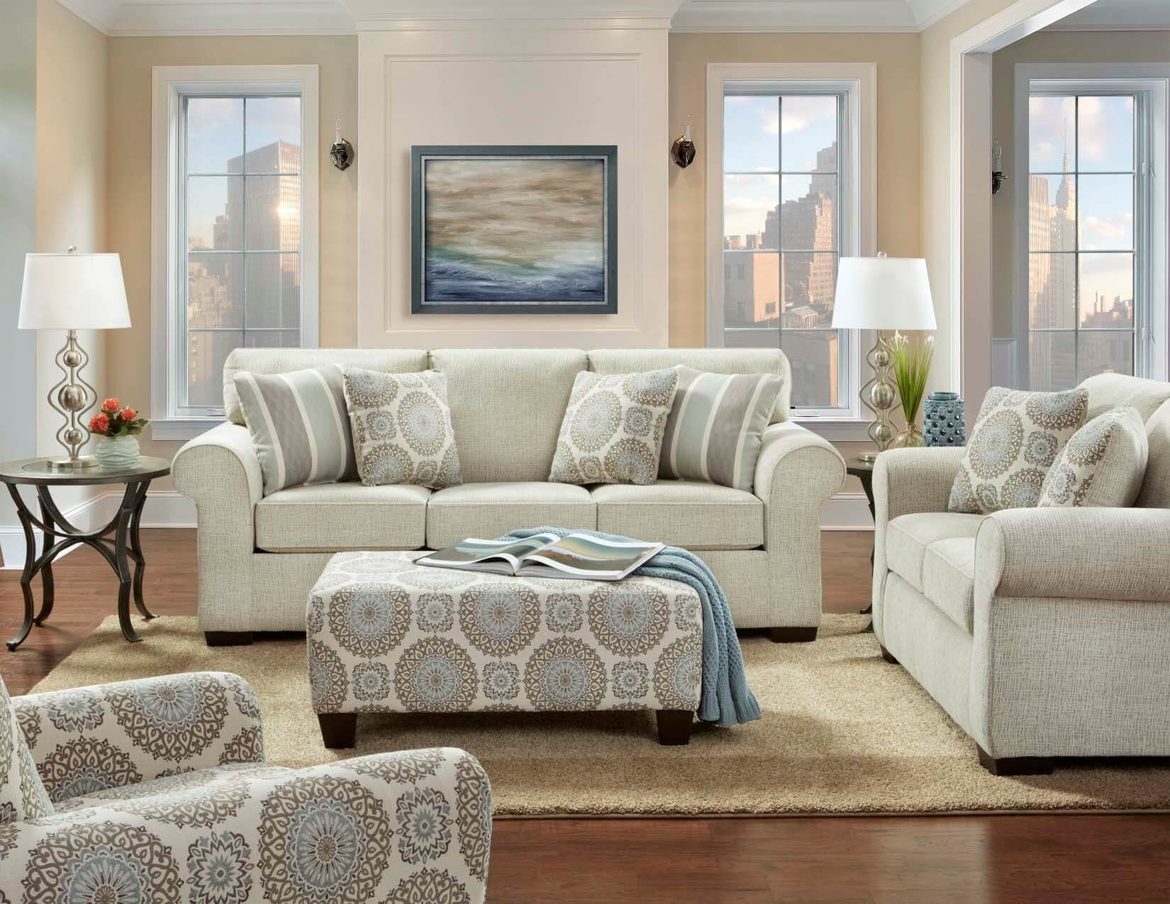 Living Room Furniture: Charisma Linen Sofa And Loveseat