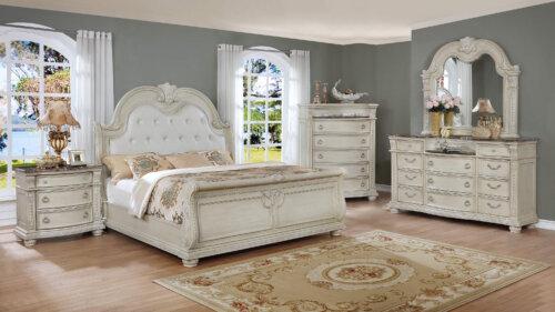 Stanley Antique White Marble Bedroom Set Bedroom Furniture Sets