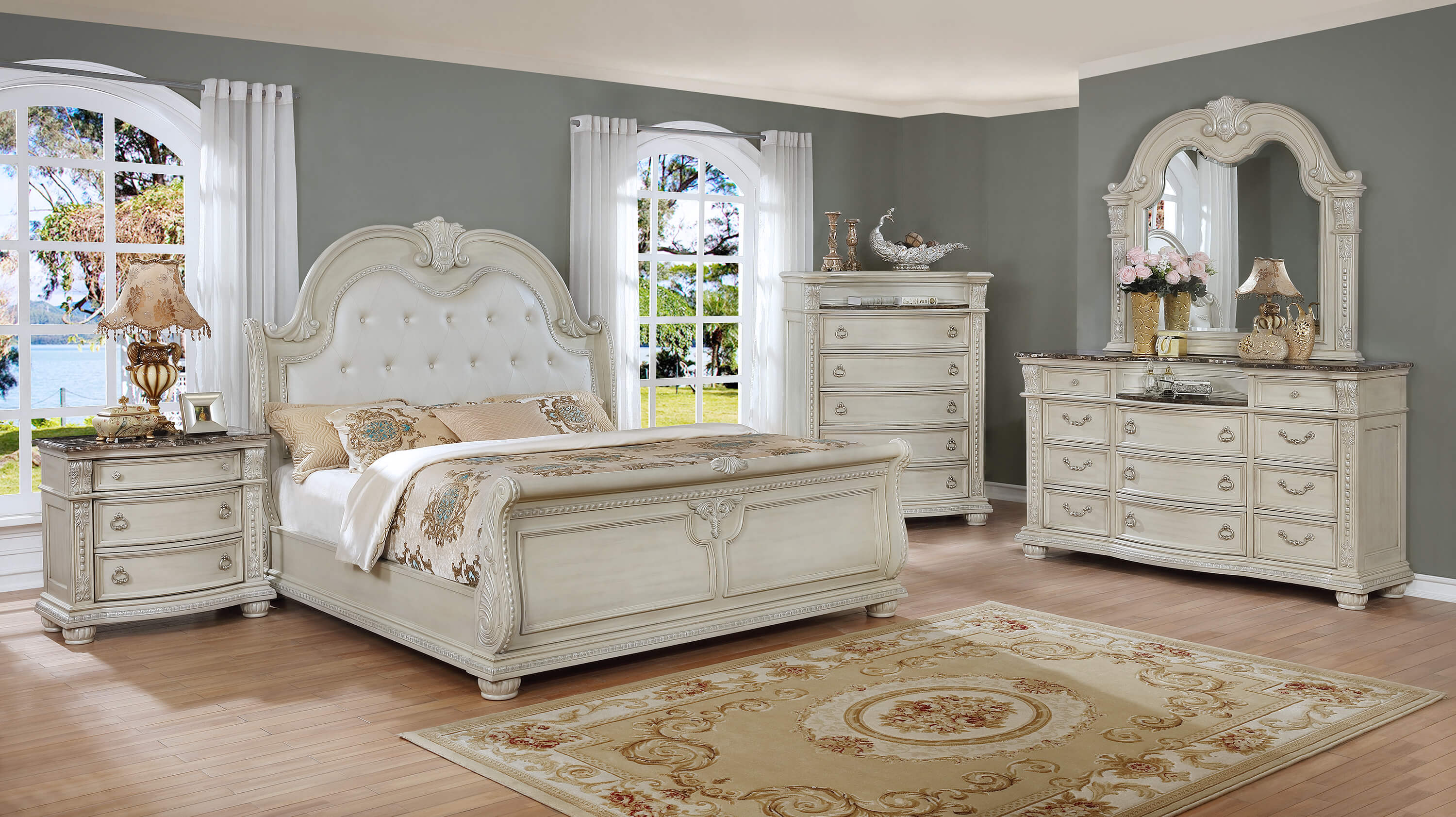 Stanley Antique White Marble Bedroom Set | Bedroom Furniture Sets