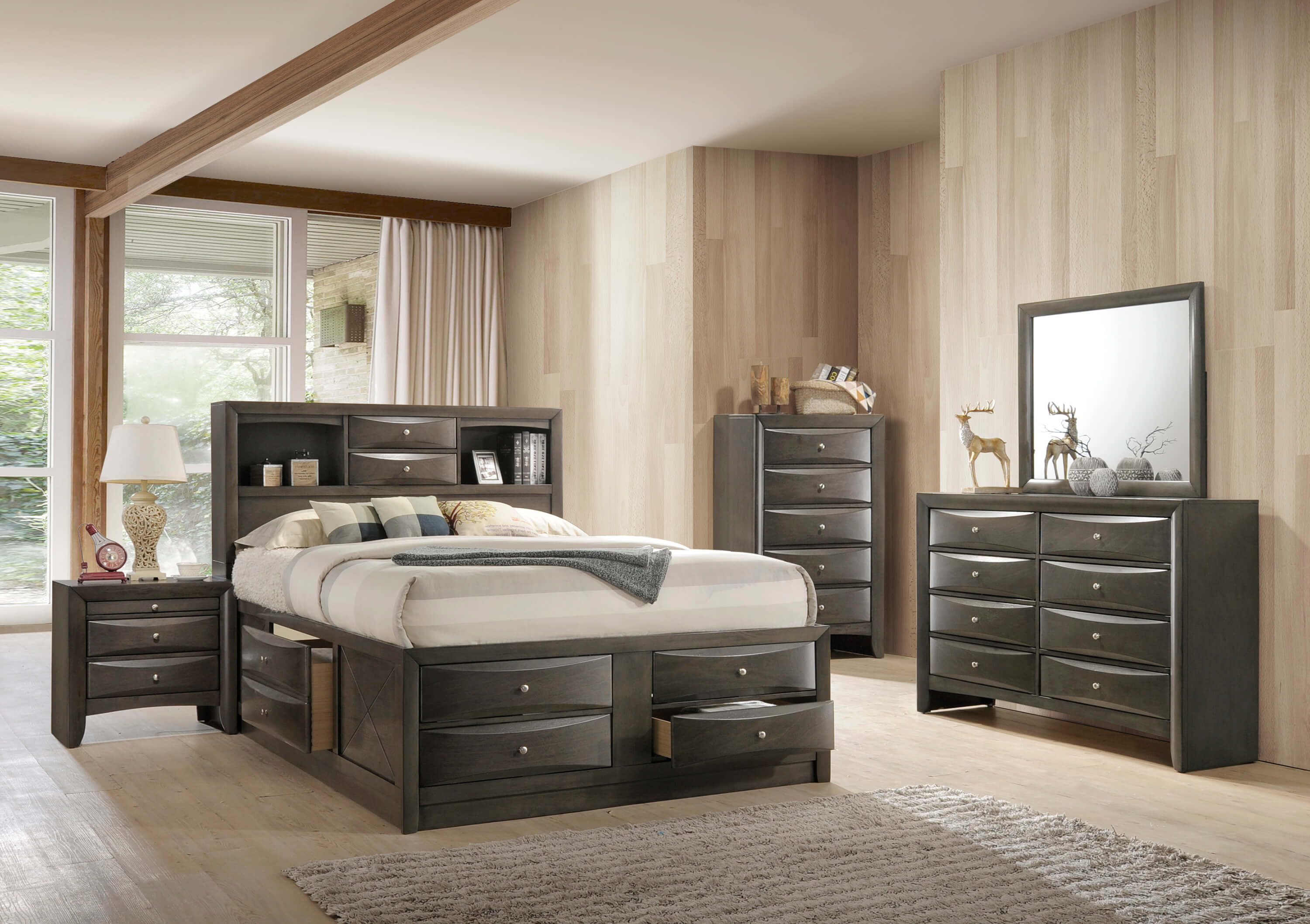 Emily Crown Mark Grey Captain Bedroom Set Bedroom Furniture Sets