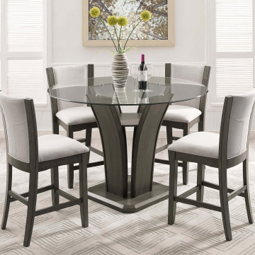 1710 Crown Mark Camelia Grey Counter Height Gl Dining Set