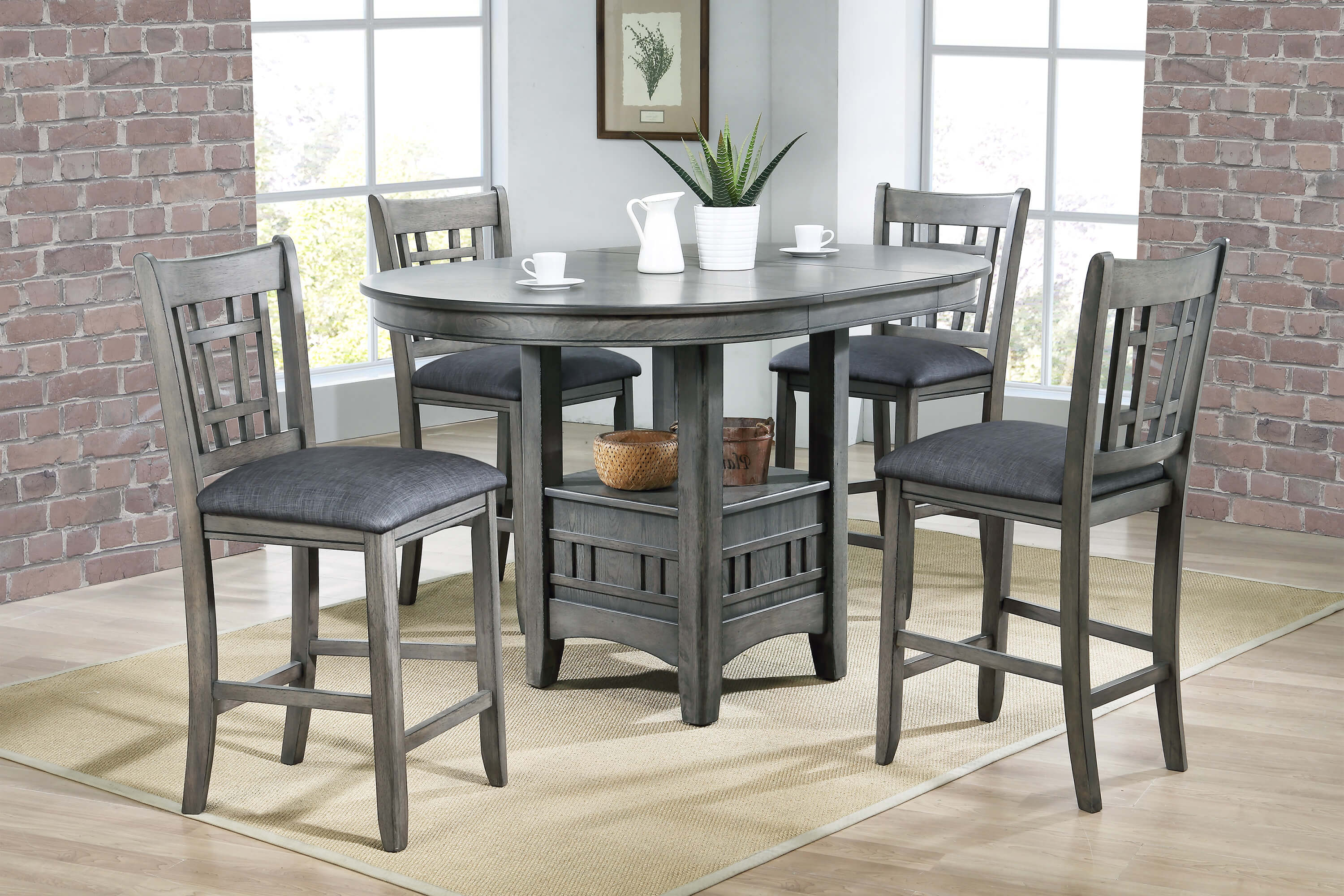Crown Mark Empire Grey Counter Height Dining Set Dining