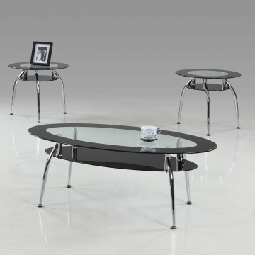Mila Modern Black and Glass Coffee and End Table Set