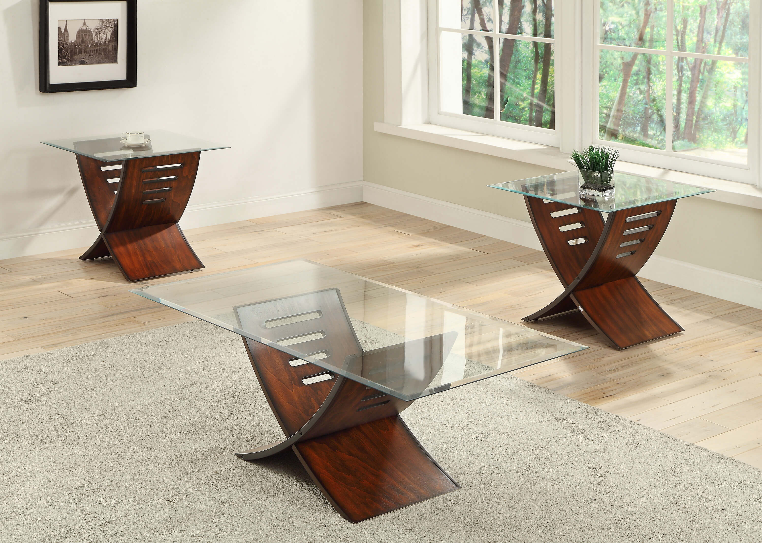Jemma Cherry and Glass Coffee and End Table Set
