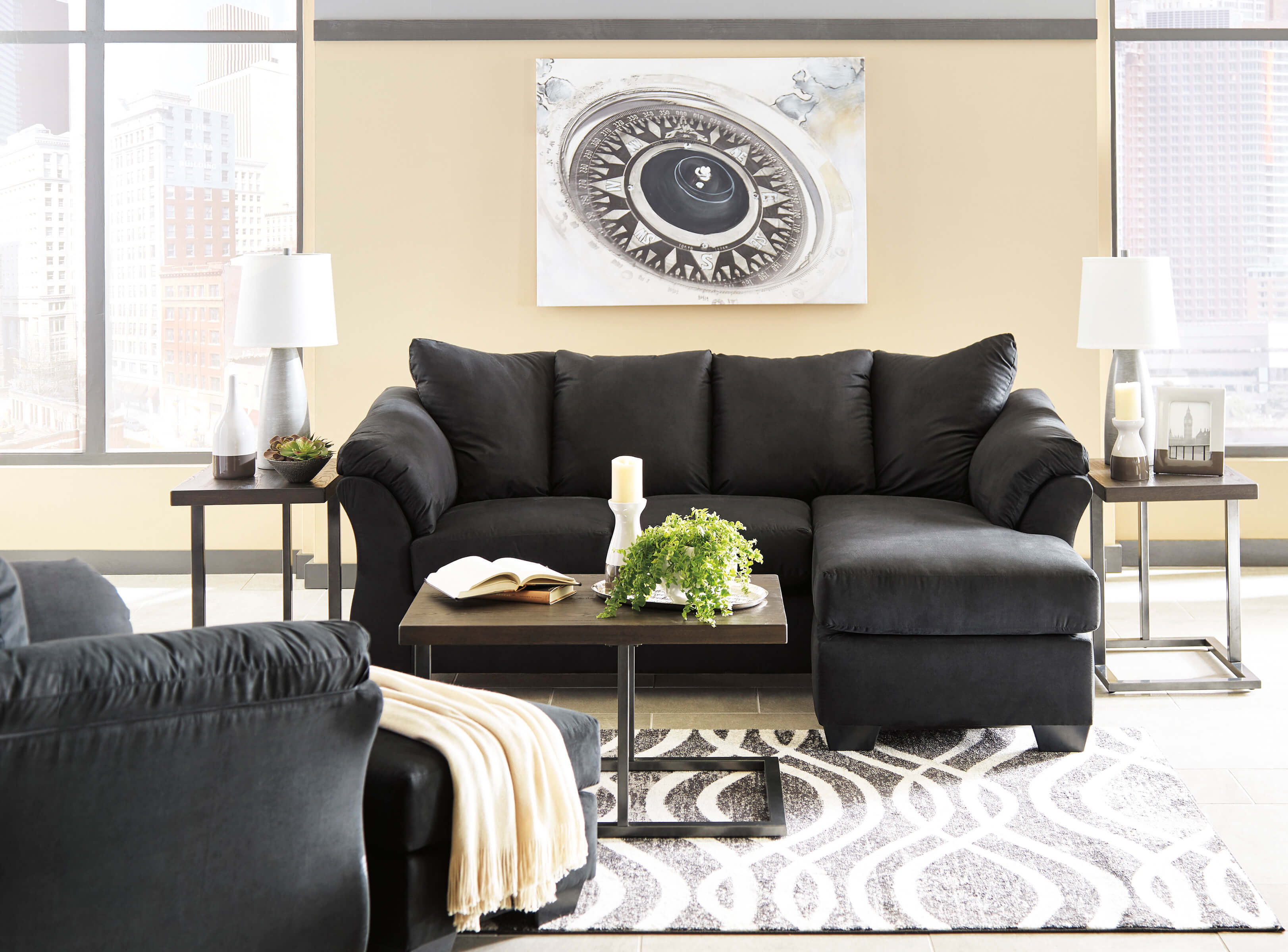 Bulldozer Black Aparment Sectional Sectioinal Sofa Sets