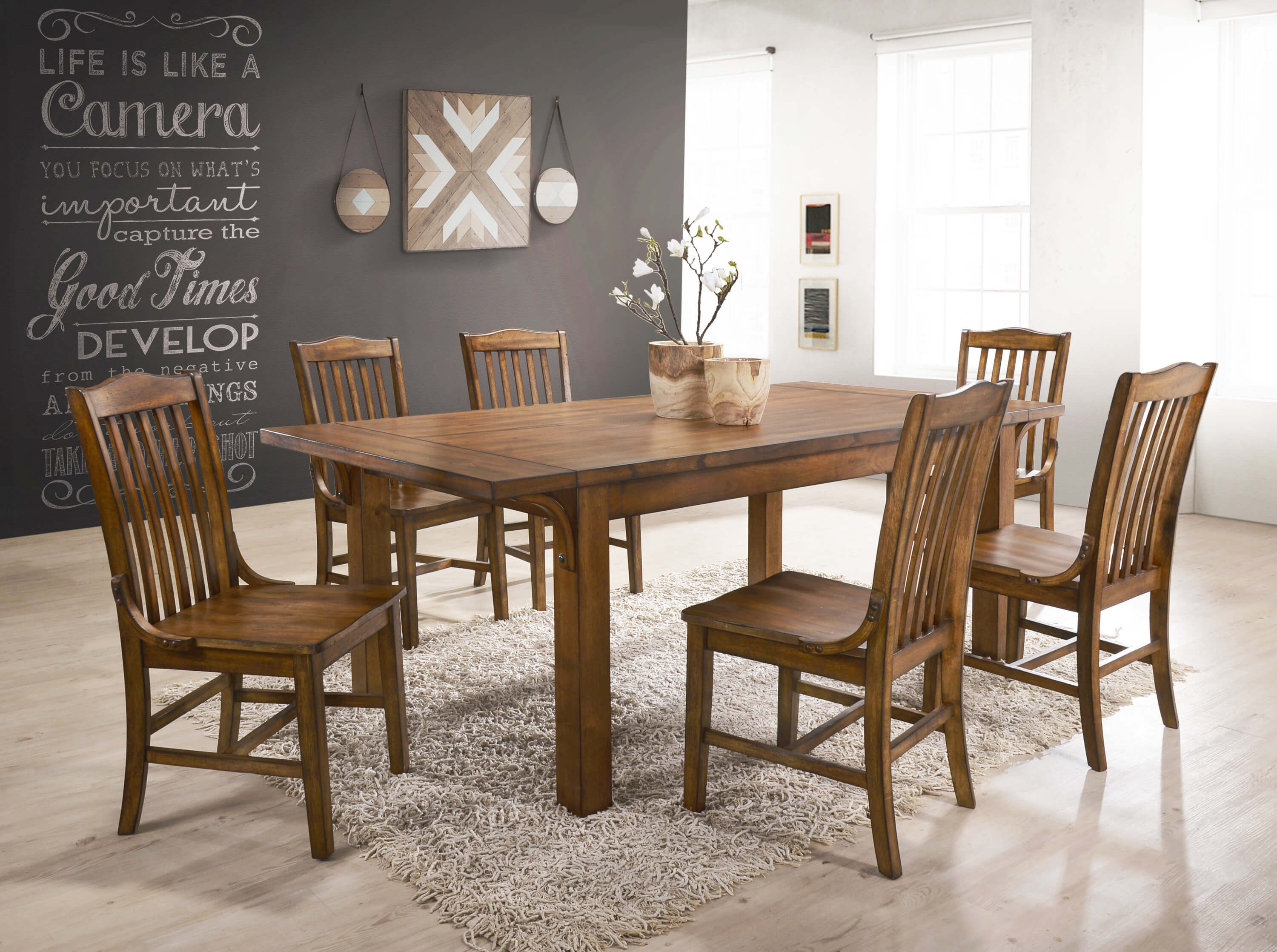 7 Pc Lucille Oak Dining Room Set