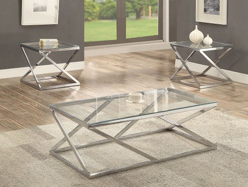 Chase Chrome and Glass Coffee and End Table Set