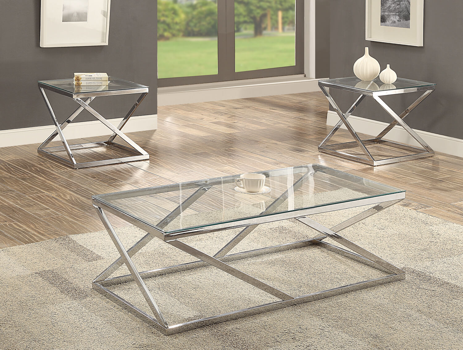 3272 Chase Chrome And Glass Coffee And End Table Set