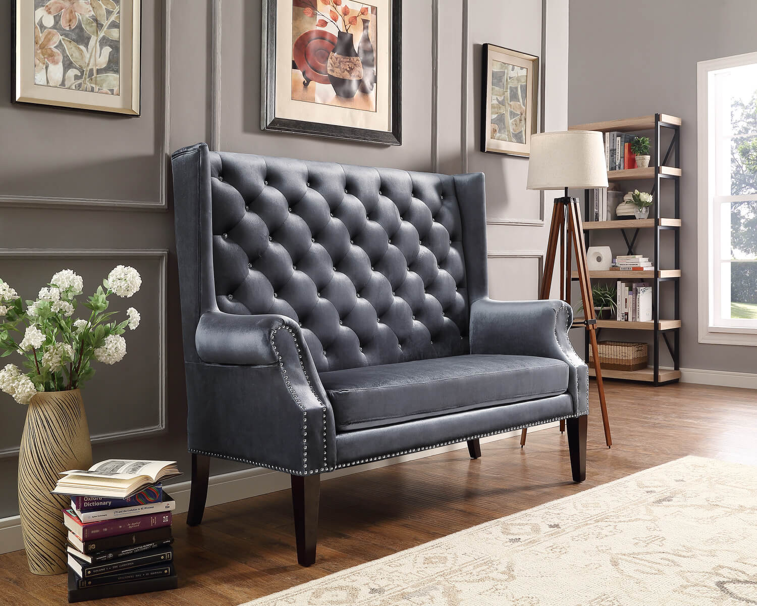 Odina Grey Accent Loveseat
