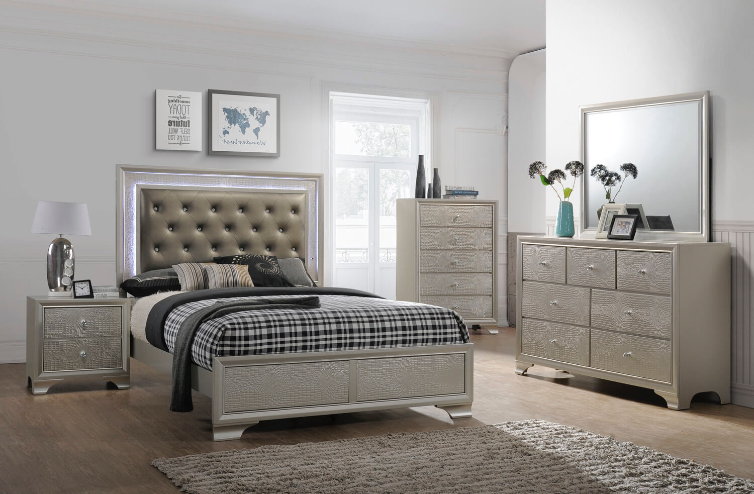Lyssa led glam bedroom furniture sets