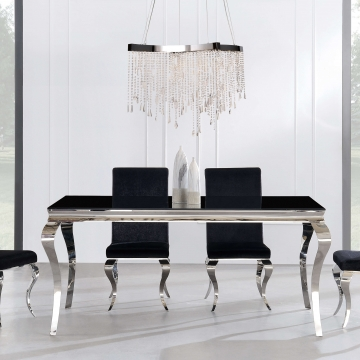 Neoclassical Black Glassing Dining Room Set