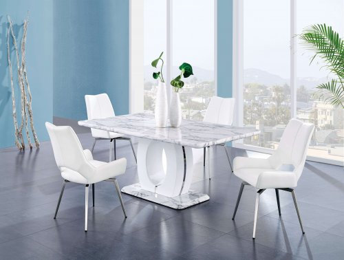 D894 Contemporary Marble Finish with White Swivel Chairs