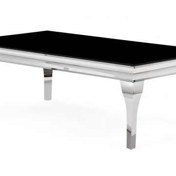 Neoclassical Black and Chrome Coffee Table