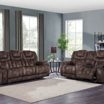 Night Range Chocolate Power Reclining Sofa and Loveseat Set