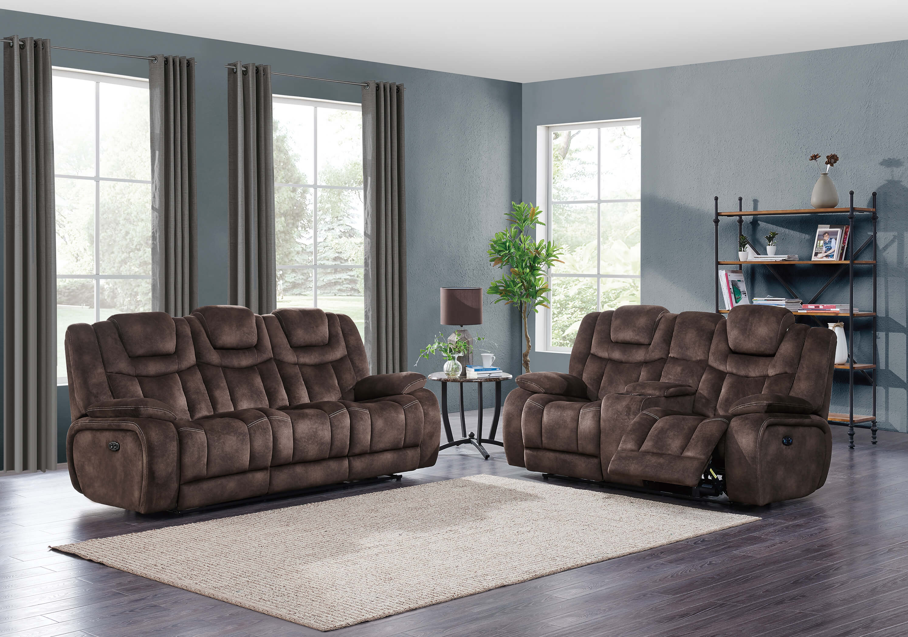 Fantastic U1706 Night Range Chocolate Power Reclining Sofa And Loveseat Set Andrewgaddart Wooden Chair Designs For Living Room Andrewgaddartcom