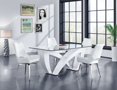 Contemporary Glass Dining Set with Turquiose Swivel Chairs