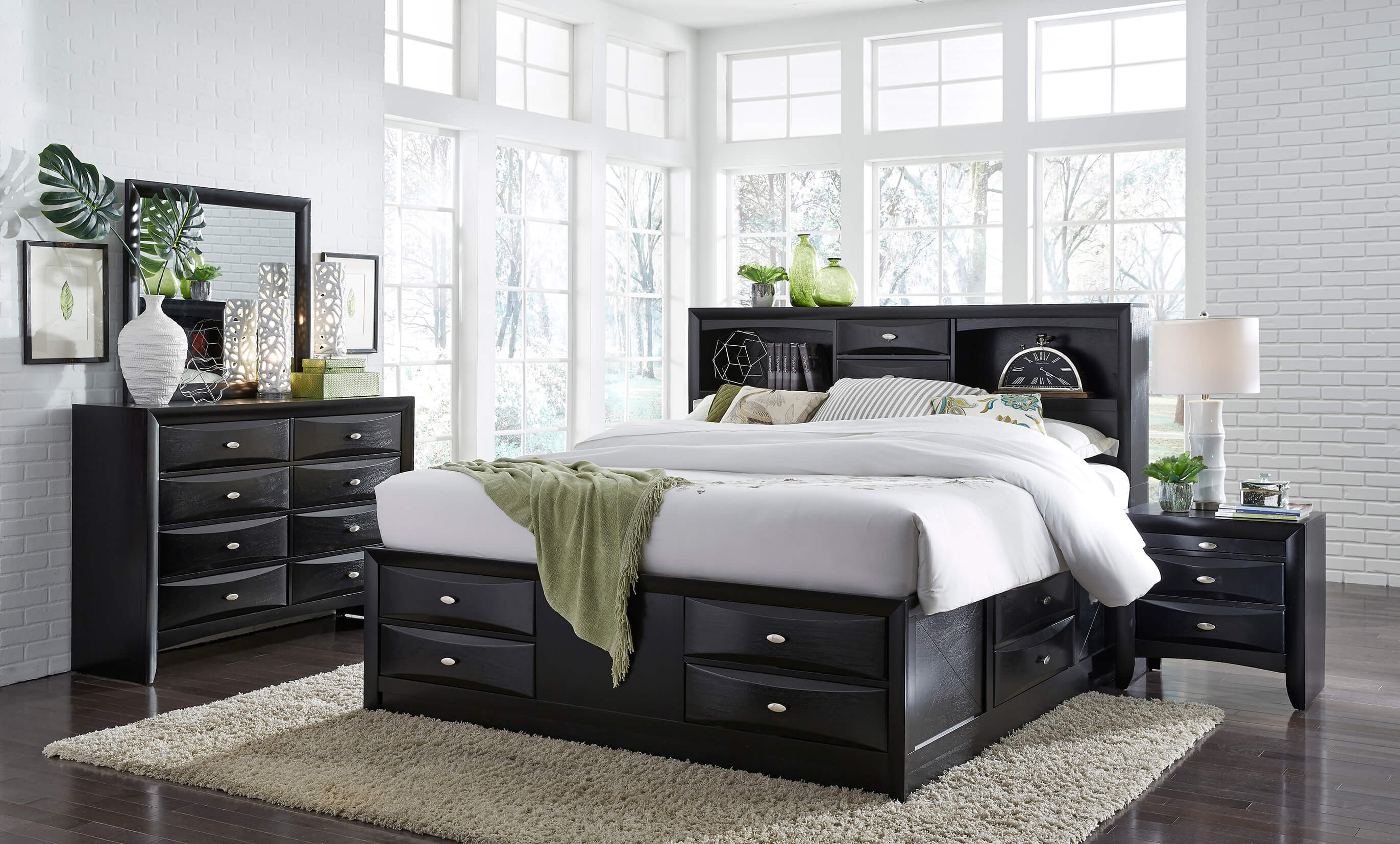 linda black full captain storage bed | bedroom furniture
