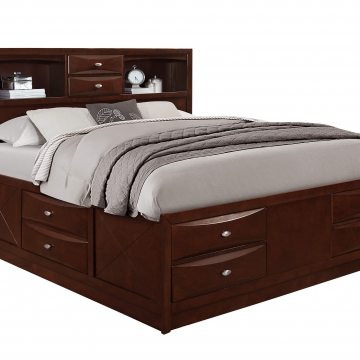 Linda Merlot Full Captain Storage Bed