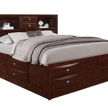 Linda Merlot Full Captain Storage Bed