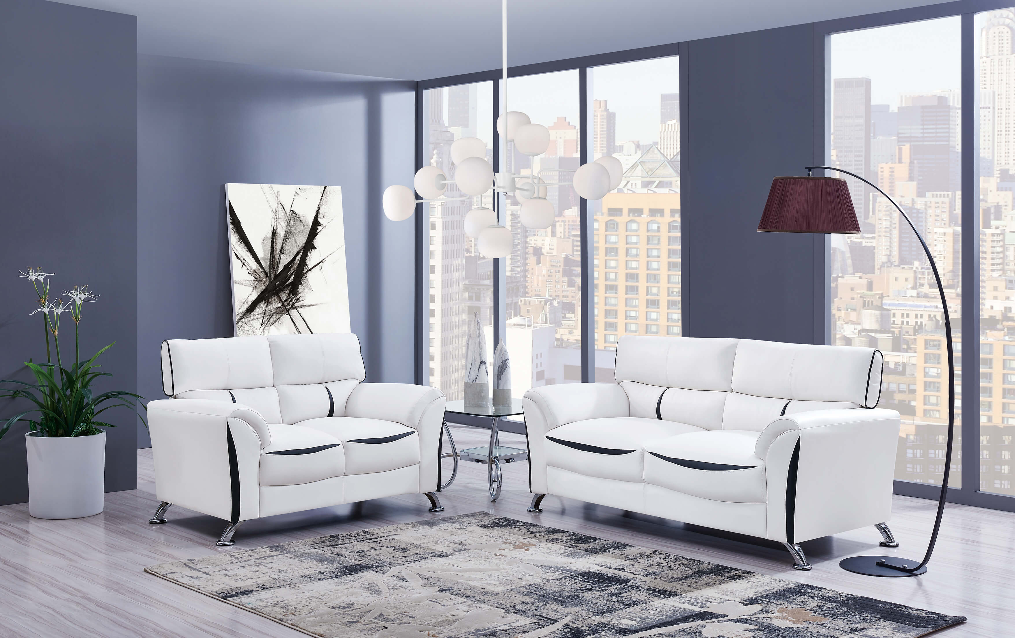 U9100 White and Black Contemporary Sofa and Loveseat-DISCONTINUED
