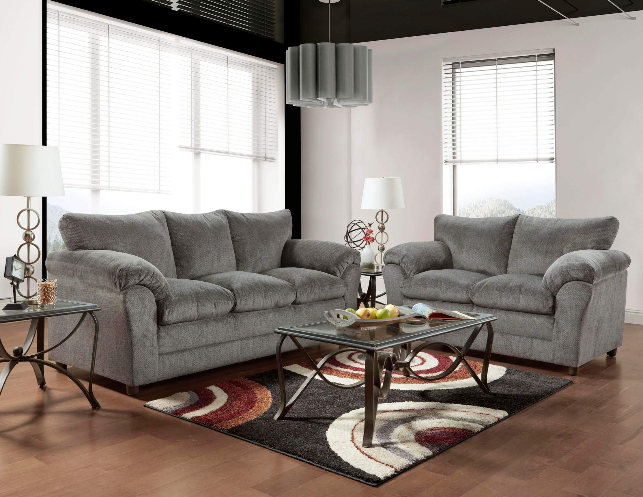 Kelly Grey Sofa And Loveseat Fabric Living Room Sets