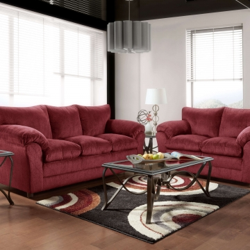 Kelly Burgundy Sofa and Loveseat