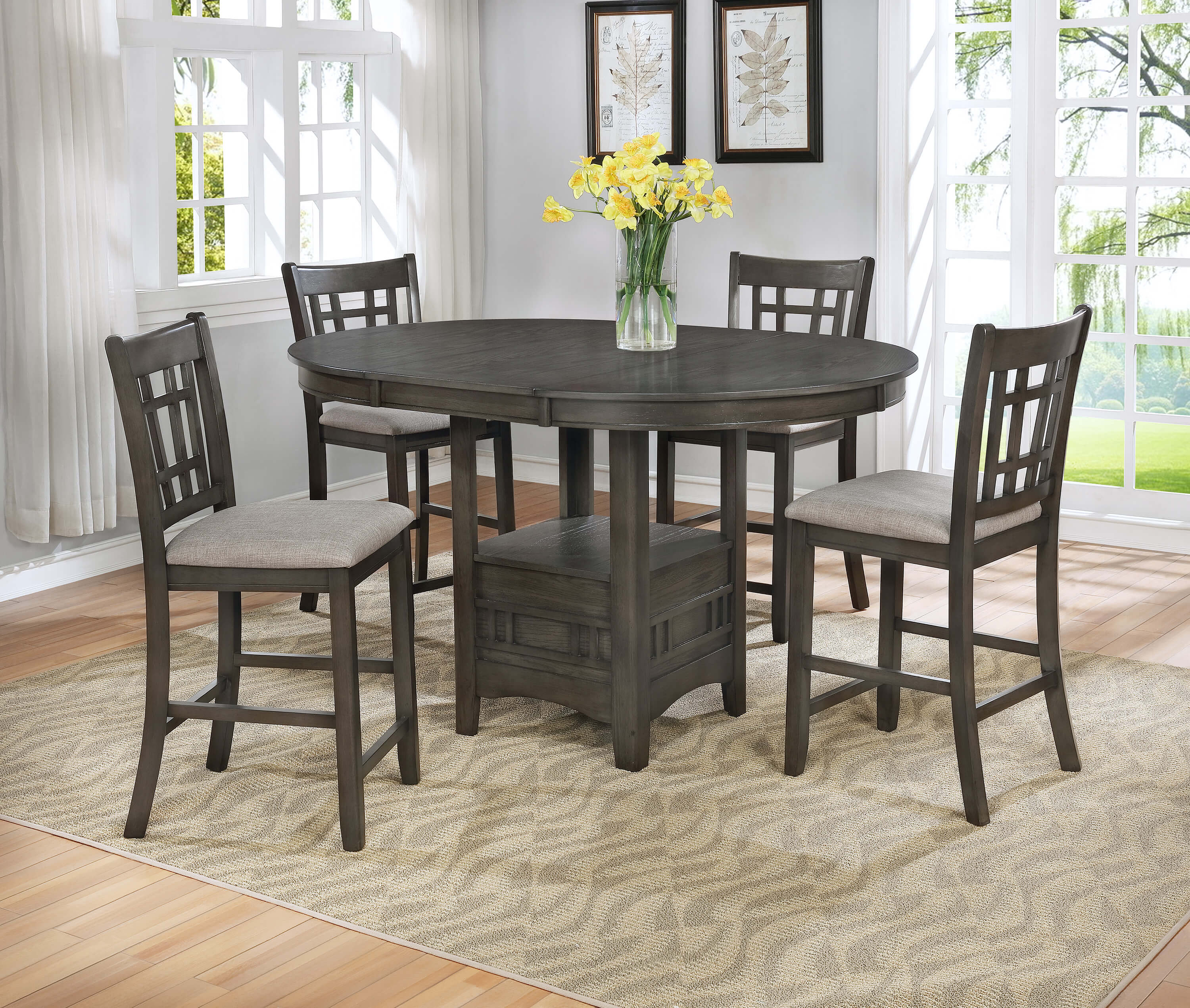 Tremendous 2795 Crown Mark Hartwell Grey Counter Height Dining Room Set Interior Design Ideas Greaswefileorg
