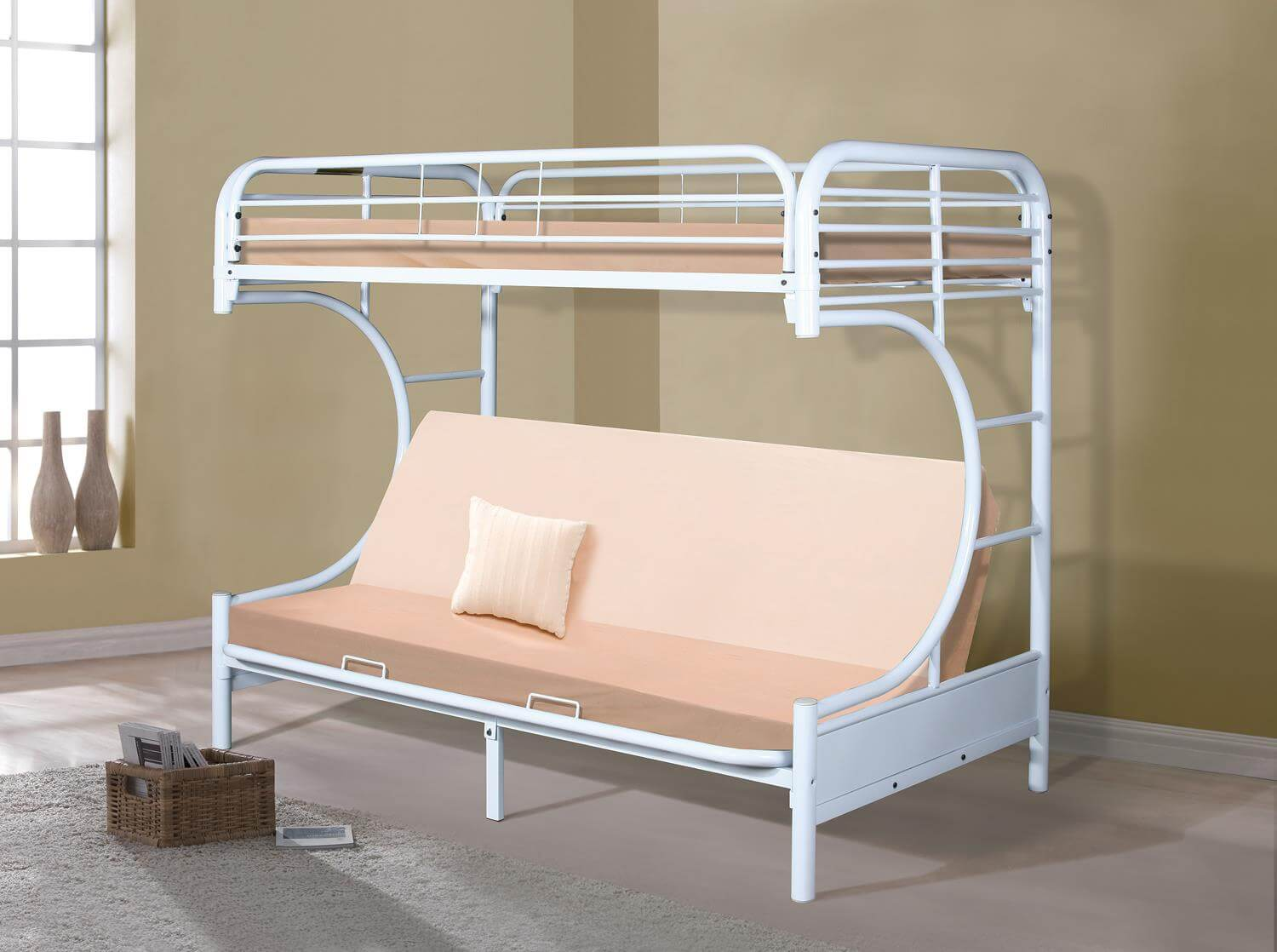 White Metal Futon Bunk Bed Kids Bunk Beds